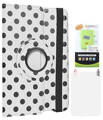 DMG Designer Polka Print 360 Rotating Smart Case For Apple IPad Mini (White) + 6600 MAh PowerBank + Matte Screen...