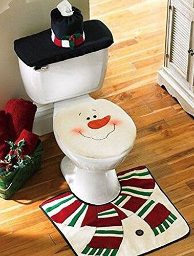 Christmas Snowman Toilet Sets,goodonly 4 Pcs Christmas Decorations Happy Santa Claus Toilet Tank Lid Cover + Floor Mats Plus + Towel Sets + Toilet Cover Toilet Sets for Christmas (Christmas Snowman)