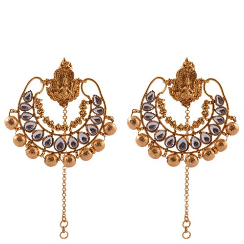 Kushal's White Colour Gold plated Antique Earrings for women (multicolor)