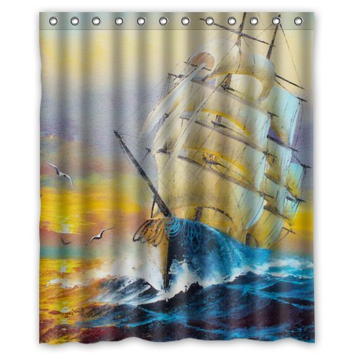 "Nautical Tall Ships Boat Sail Away Waterproof Bathroom Fabric Shower Curtain,Bathroom Decor 60"" X 72"" front-602926"