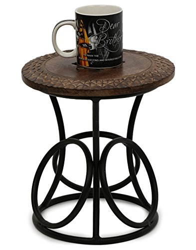 Onlineshoppee Wood & Iron Home Decor Design Stool/Table Size(LxBxH-12x12x12) Inch