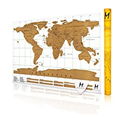 New The NOMAD Progressive World Traveler Map w/ Gift Case! Travel More, Scratch Off The Map, And Relive Your Adventures. Available in Black or White! (32.28 X 23.23, WHITE)