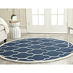 Safavieh Cambridge Collection CAM134G Handmade Navy and Ivory Wool Round Area Rug, 4 feet in Diameter (4\' Diameter)