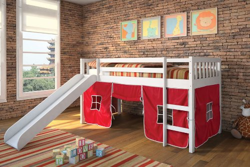 Acme White Wood Twin Loft Beds With Red Tent Gilrs Youth front-1021637