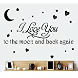 I Love You To The Moon and Back Wall Decal Decor Wall Sticker