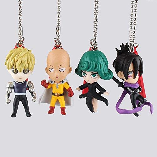 Anime One Punch Man Saitama Tatsumaki Genos PVC Action Figure Key Chains Key Rings Pendants Collectible Models Toys Doll ACAF022