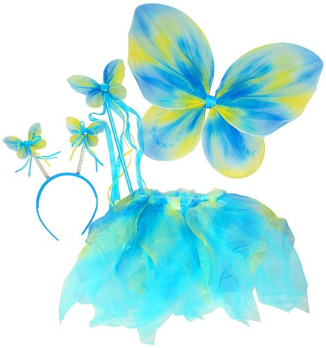 Neon Fairy Butterfly Costume Tutu Set (4 pc) Select Color: Blue & Green
