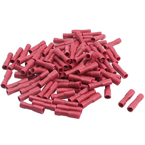 100Pcs Red Female Spade Crimp Fully Insulated Cable Terminals 22-16AWG