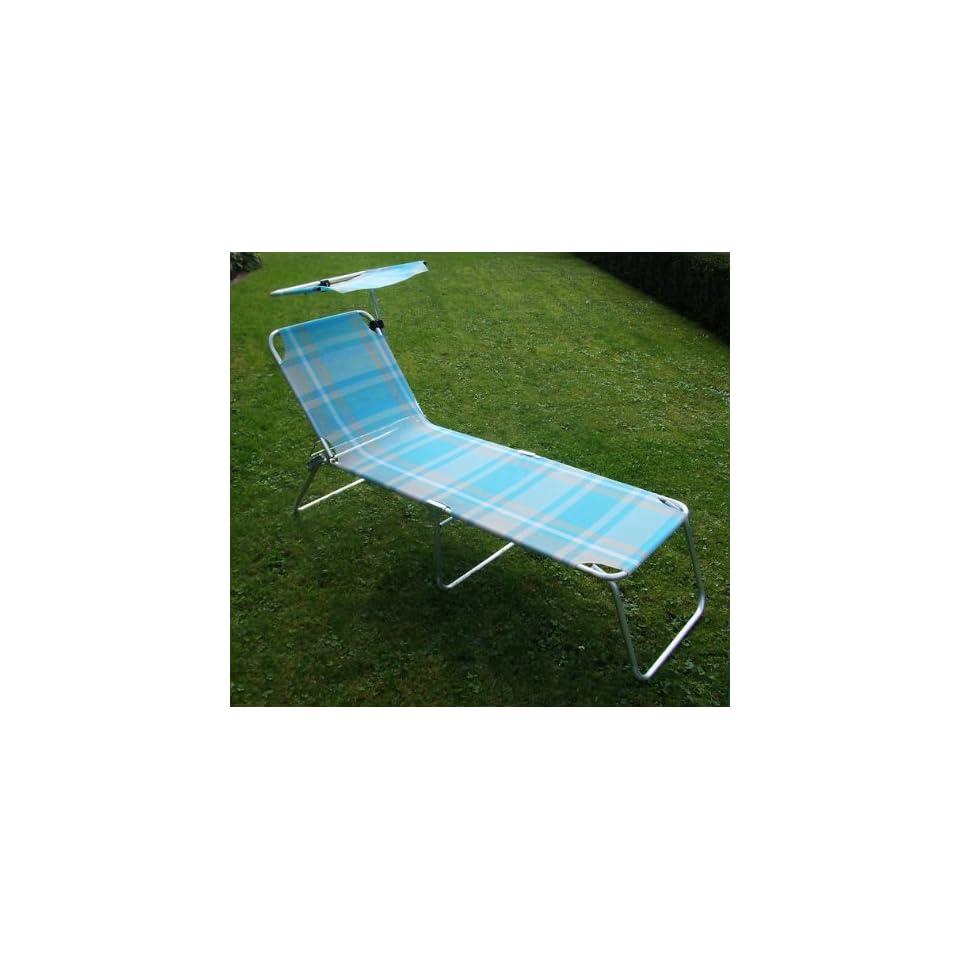 Alu Sonnenliege Mit Sonnenschutz Blau Extra Hoch Garten On