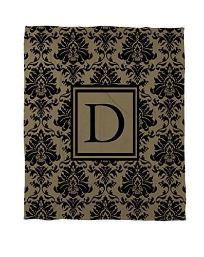 Thumbprintz Coral Fleece Throw, 60 By 80-Inch, Monogrammed Letter D, Black And Gold Damask front-147006