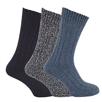 mens chunky boot socks with wool pack of 3