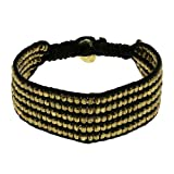 Black and Gold Wrist Bracelet Unisex Fashion Jewelry Indian Artisan Crafted (MN-srbrclt007)