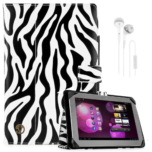 "Soho Portfolio Stand - Nylon Detachable Flip Cover Case (Black & White Zebra) For Samsung Galaxy 10.1"" Tablets (Tab 3, Tab 2, Tab 1) + White Handsfree Earphone /Microphone Headphones"