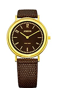 Jowissa Women's J4.013.M Nuoro Gold PVD Slim Brown Leather Watch