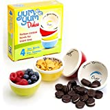 Yum Yum Dishes™ portion control bowls serve the perfect 4-ounce snack portion to help prevent unconscious snacking and overeating. Each box contains four oven, microwave, and dishwasher safe ceramic bowls in fun, vivid colors: bold blue, pistachio green, sunshine yellow, and cherry red. Yum Yum Bowls include plastic snap-on lids to keep food fresh and make snacking on the go easy.