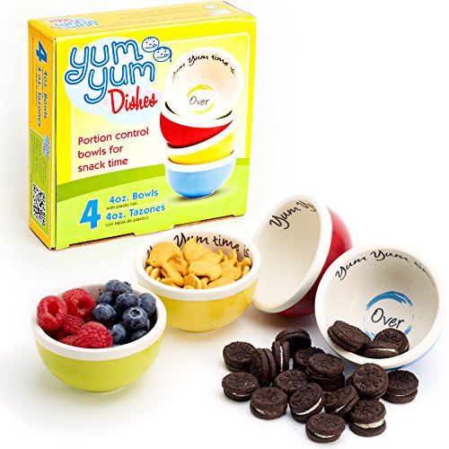 Yum Yum Dishes™ portion control bowls serve the perfect 4-ounce snack portion to help prevent unconscious snacking and overeating. Each box contains four oven, microwave, and dishwasher safe ceramic b