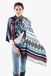 Owncraft striped fine wool stole with multiple colors