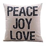 "Create For-Life Cotton Linen Decorative Pillowcase Throw Pillow Cushion Cover Peace Joy Love Square 18"""