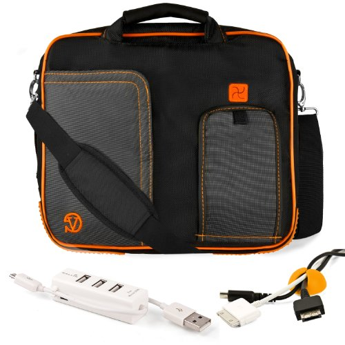 ORANGE Purfling BLACK Pindar Durable Water-Unaffected Nylon Protective Carrying Case Page Shoulder Bag For Fujitsu Lifebook 13.3-Inch Notebook Laptop + Yellow Mailgram Organizer + White 3 Port USB HUB with Micro USB Charger