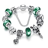 Boxing Day Deals Promotion 15 off Wostu 925 Silver Plated Green Glass Bead Animal Charm Bracelet with Safety Chain for Women