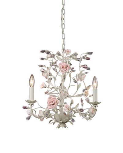 Artistic Lighting Porcelain Roses 3-Light Chandelier, Cream