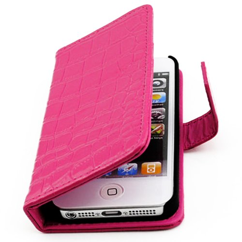 Mylife Vibrant Pink Crocodile Skin Design - Textured Koskin Faux Leather (Card And Id Holder + Magnetic Detachable Closing) Slim Wallet For Iphone 4/4S (4G) 4Th Generation Touch Phone (External Rugged Synthetic Leather With Magnetic Clip + Internal Secure