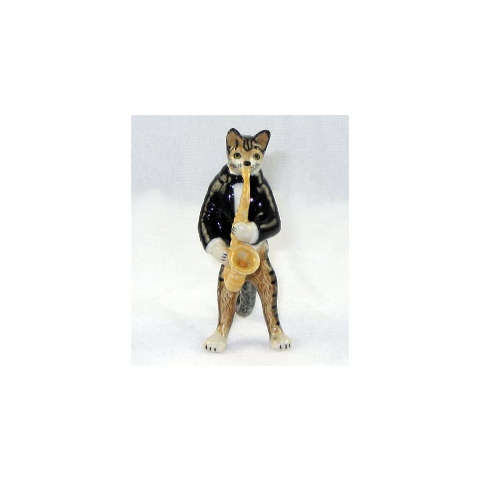 CAT Tiger Grey n TUX Musician plays SAXAPHONE MINIATURE New Porcelain Figurine KLIMA L657B