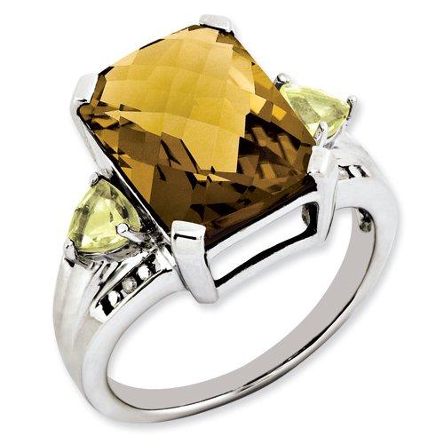 Sterling Silver Whiskey Quartz, Lemon Quartz & Diamond Ring