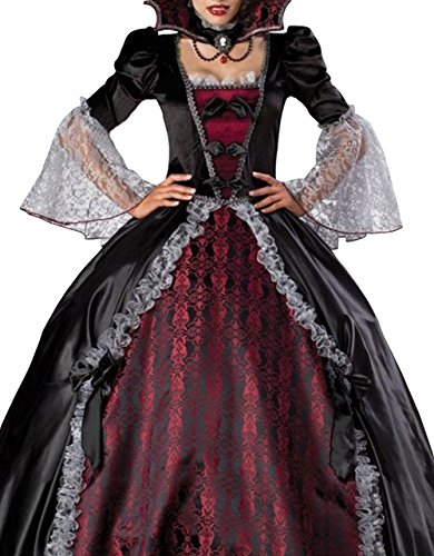 Z-LMDS Women's Sexy Two Piece Evil Vampire Pattern Dancing Party Show Costume