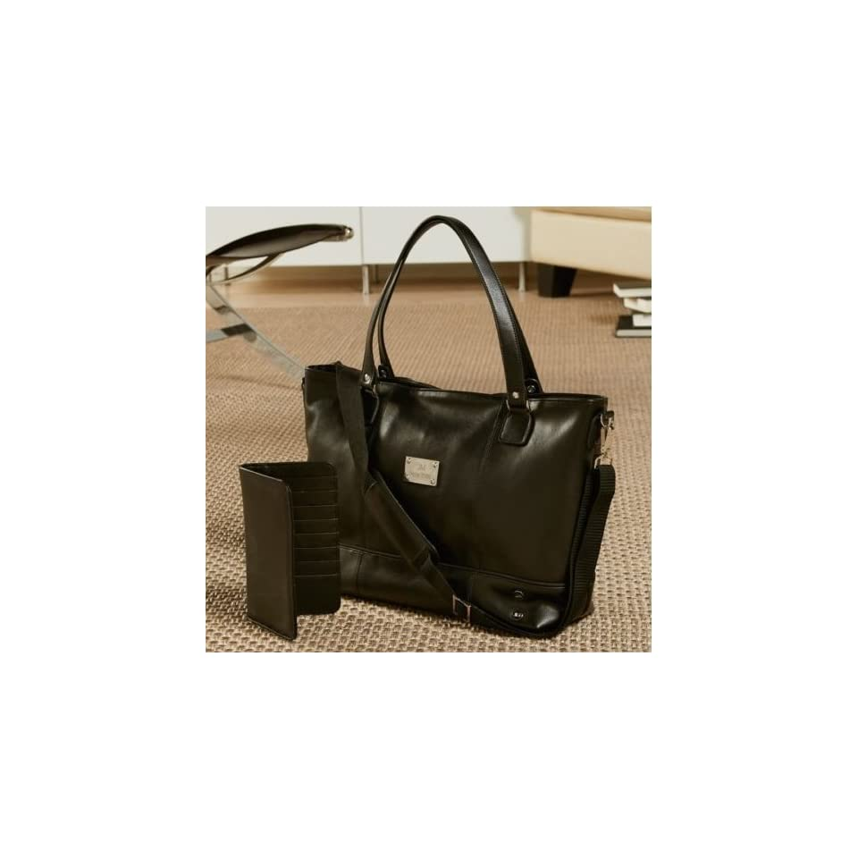 Joy Mangano Clothes It All Leather Tote w  Wallet Black on PopScreen e060936726