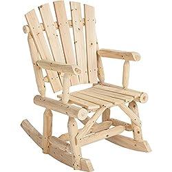 Outdoor Log Adirondack Rocker / Rocking Chair - Natural Wood Product SKU: PF09102