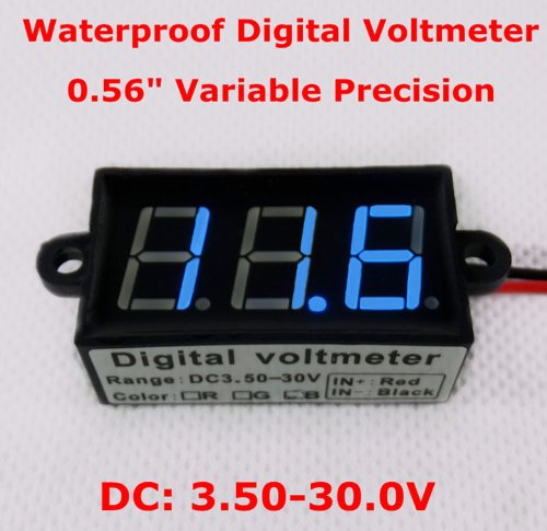 Smakn® 2 Wire Blue Dc 3.5-30V Waterproof Automatic Adjustment Led Panel Digital Display Voltage Meter Voltmeter