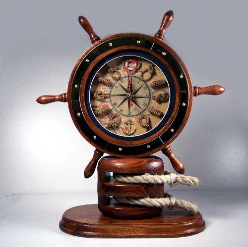Ship Wheel Mantle Knot Clock Wood Nautical Decor