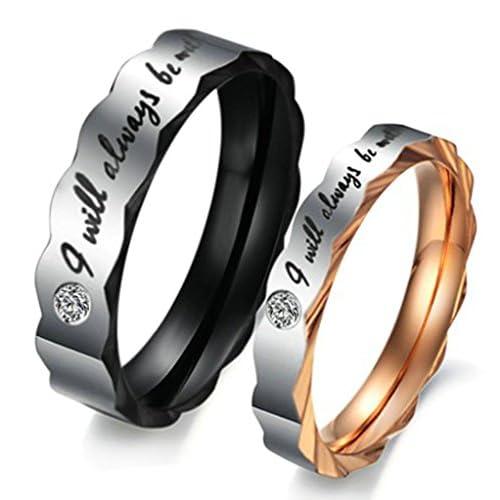 (キチシュウ)Aooazジュエリー カップルステンレスリング指輪 メンズ 「I will always be with you」 ホワイトCZダイヤモンド入り 結婚指輪 ブラック 日本サイズ21号
