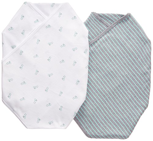 "Carter's ""Fox & Stripe"" 2-Pack Swaddle Blankets - mint/gray, one size - 1"