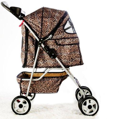 BestPet 4-Wheel Pet Stroller, Classic Leopard Skin