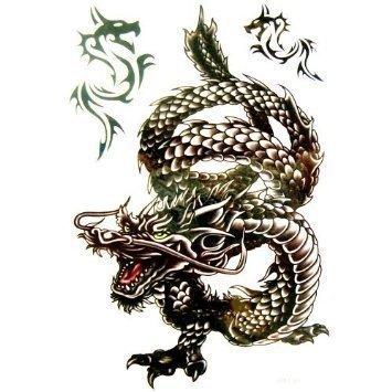 tempor res tattoo chinesischer drache gro schwarz k nstlerisch f r herren oder jungen. Black Bedroom Furniture Sets. Home Design Ideas