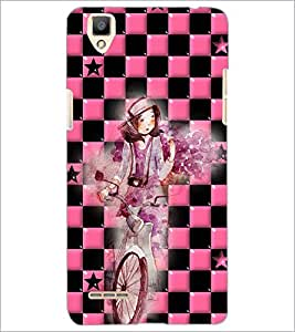 PrintDhaba Girl bicycling D-4165 Back Case Cover for OPPO F1 (Multi-Coloured)