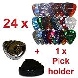 rockpicks - 24 x Mediators pour guitares et basses 3 forces diff�rentes + 1 x Pickholder en noir ou argent
