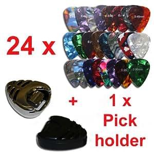 rockpicks - 24 x Mediators pour guitares et basses 3 forces différentes + 1 x Pickholder en noir ou argent