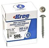 Kreg SML-HL125-500ct Pocket Hole Screws 1-1/4-Inch #7 Hi-Lo Washer-Head #2 Square Drive