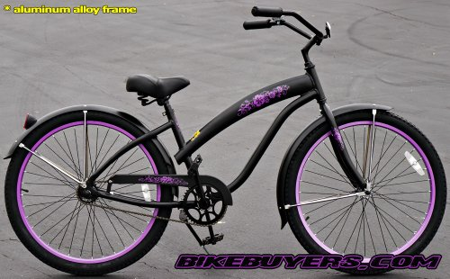 Aluminum frame, Fito Modena Alloy 1-speed Matte Black/Purple Women's Beach Cruiser Bike Bicycle Micargi Schwinn Nirve Firmstrong style