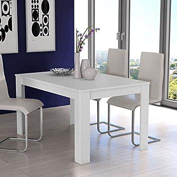 Finlandek table a manger kova 6 a 8 personnes 160x90 cm - blanc mat