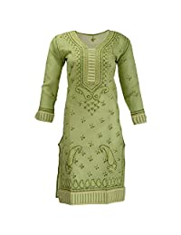 Lucknow Chikan Industry Women's Cotton Straight Kurti (Green , 38 Inches) - B00XHKJZ9M