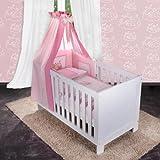 6-tlg. Bettsetpaket Sleeping Bear in rosa inkl. Himmelstange