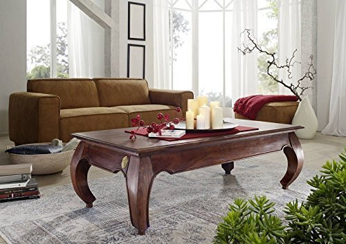 Mobili in legno di acacia legno massiccio tavolino da salotto 135 x 70 colore nocciola legno massiccio Möbel Opium #616