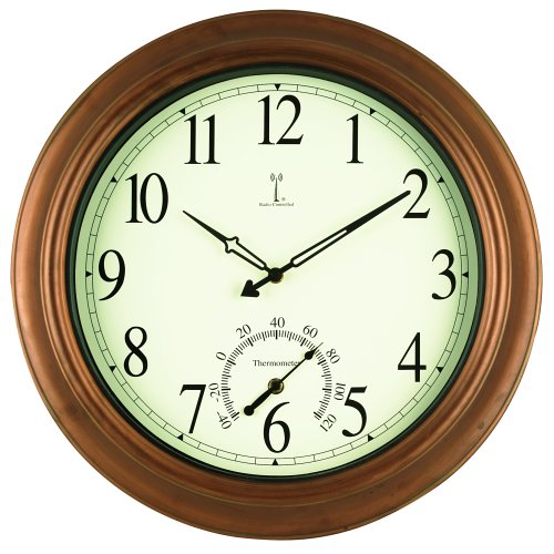 Chaney Instrument 18-Inch Copper Clock and Thermometer