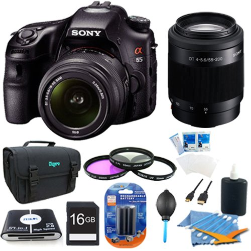 Sony Alpha A65 SLT-A65VK SLT-A65VL A65VK SLTA65 24.3 MP Translucent Mirror Digital SLR With 18-55mm SAM II and 55-200 Sony Lens BUNDLE with 16GB Card, Spare Battery, 57 in 1 Card Reader, 3 Piece Filter Kit, Deluxe Case, LCD Screen Protectors, Lens Clean