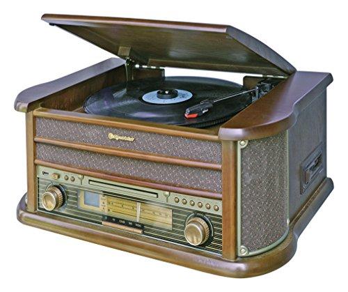 HIF-1990 Retro Stereo-Anlage mit Plattenspieler, Kassette, CD-Player und Radio (UKW / MW, CD / MP3, USB, beleuchtetes LCD-Display, Fernbedienung, 40 Watt Musikleistung), braun