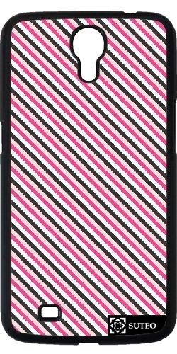 Hülle für Samsung Galaxy Mega 6.3 (GT-I9205) - Streifen Schwarz -Rosa und Weiß - ref 361